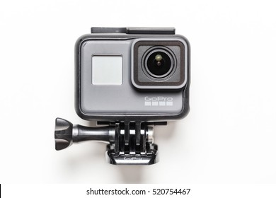 BANGKOK, THAILAND - November 23, 2016: GoPro HERO 5 Black. GoPro makes the world's most versatile cameras. The camera is often used in extreme action video and photography.