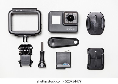 BANGKOK, THAILAND - November 23, 2016: GoPro HERO 5 Black accessories. GoPro makes the world's most versatile cameras. The camera is often used in extreme action video and photography.