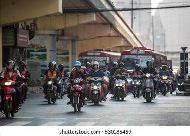 BANGKOK, THAILAND - November 23, 2016: Morning traffic on the streets of Bangkok, November 23, 2016, Thailand.
