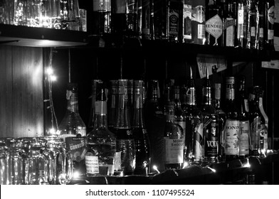 BANGKOK, THAILAND - NOVEMBER 23, 2017: a shelf full of alcohol drinks as black and white picture