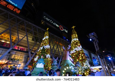 BANGKOK, THAILAND - NOVEMBER 23, 2017 : Centralworld shopping mall at night, the themes  Santa Claus welcome to Christmas and Happy New Year 2018 festival.
