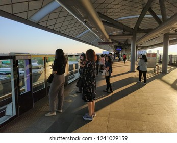 Bangkok, Thailand - November 23, 2018: People passenger at MRT Purple Line Bang Yai-Tao Poon station. Many people in Bangkok use skytrain to save time. lifestyle of people in Bangkok, Thailand.