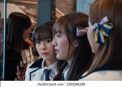 BANGKOK, THAILAND - NOVEMBER 23, 2018: Dusita Kitisarakulcha (Natherine), a member of Thai Idol girl group BNK48, looks to see fanclub in Gontran Cherrier bakery grand opening public event.