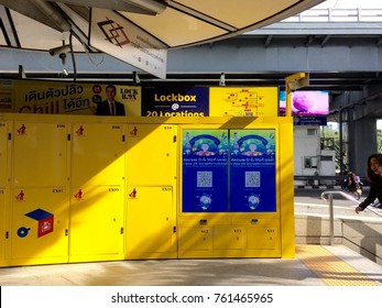 Bangkok, Thailand - November 24, 2017 : LOCKBOX Self Service Storage you can deposit luggage or baggage in lockers. It is the primary mass transit electronic locker in Thailand located near train Silo