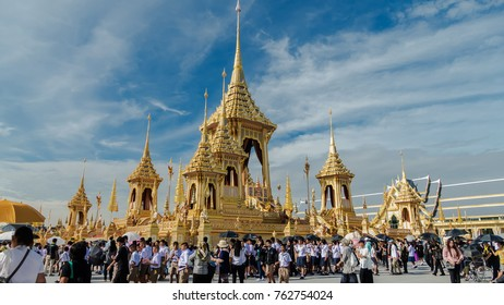 BANGKOK, THAILAND - NOVEMBER 24: Crowd of people visit  The Royal Crematorium of His Majesty King Bhumibol Adulyadej at Sanam Luang, Bangkok , Thailand on November 24, 2017