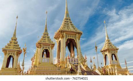 BANGKOK, THAILAND - NOVEMBER 24: The Royal Crematorium of His Majesty King Bhumibol Adulyadej at Sanam Luang, Bangkok , Thailand on November 24, 2017