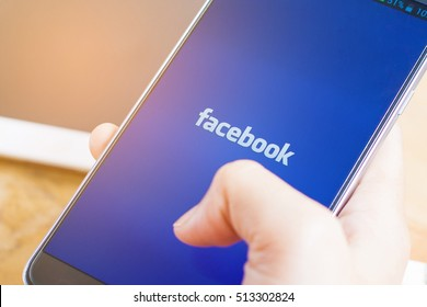 bangkok, thailand -  November 24.2016:Home page of social network site Facebook,Facebook notifications of friend request, Facebook is a social networking service, owned and operated by Facebook, Inc.