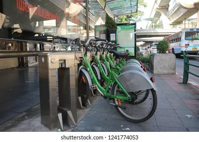 BANGKOK, THAILAND - NOVEMBER 25, 2018: Bicycle Sharing System Pun Pun available at designated stations  on November 25, 2018 in Bangkok, Thailand.