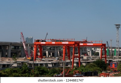 BANGKOK, THAILAND - NOVEMBER 25, 2018: Gantry cranes on the construction site of Bangsue Grand Station on November 25, 2018 in Bangkok, Thailand.