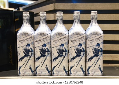 Bangkok, Thailand – November 25, 2018: Game of Thrones Johnnie Walker White Walker Limited Edition Single Malt Scotch Whisky is a special collection inspiring from the monster from HBO Series.