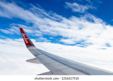 Bangkok, Thailand -november 25, 2018 : Airbus 320 airasia, Thailand low-cost airline. View from the plane window by. airasia airline.