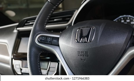 Bangkok Thailand - November 25, 2018: Black steering wheel with Honda logo, Honda BR-V