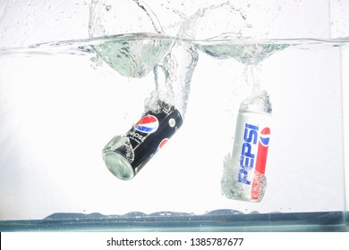 Bangkok, Thailand - November 25, 2018 : PEPSI cans and water splashes, Pepsi is ubiquitous on just about every people worldwide
