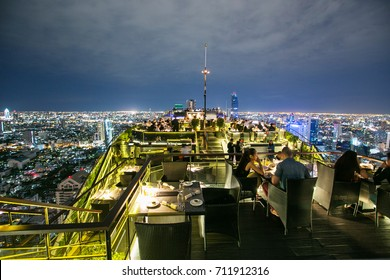 Bangkok, Thailand - November 26, 2016: Beautiful view from rooftop restaurant Vertigo and moon bar at Banyan Tree Hotel Bangkok