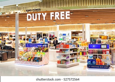 BANGKOK, THAILAND - NOVEMBER 28 2016: Duty free shop in Suvarnabhumi international airport