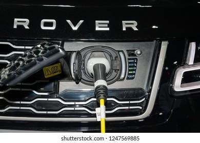 BANGKOK, THAILAND : November 28, 2018 -  Range Rover V8SC Autobiography concept electric car at in the big event car show Motor Expo 2018 IMPACT Arena, Muang Thong Thani in Nonthaburi, Thailand