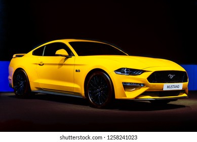 Bangkok Thailand - November 28 , 2018 : New model super car of Ford Mustang 2018 This model is use Gasoline engine V8 DOHC Direct Injection Ti-VCT siz 5.0 5038 cc and High horsepower is 460 hp.