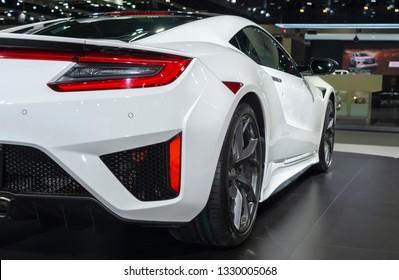 Bangkok, Thailand - November 28, 2018 : Honda NSX white color super car on display in big event car show Motor Expo 2018 IMPACT Arena, Muang Thong Thani in Nonthaburi, Thailand