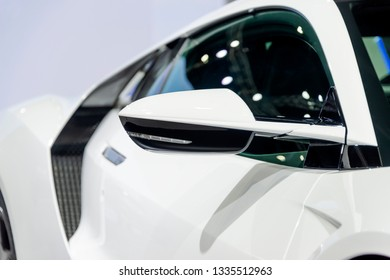 BANGKOK, THAILAND : November 28, 2018 -  Honda NSX white color super car performance modified concept car Motor Expo 2018 at IMPACT Arena, Exhibition & Convention Center, Muang Thong Thani, Thailand