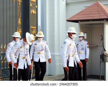 Bangkok, Thailand - November 28 2020: guards at Bangkok Grand Palace