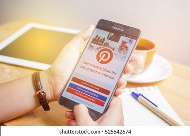 Bangkok, Thailand - November 28,2016:Samsung note5 with social Internet service Pinterest on the screen. Pinterest is an online pinboard that allows people to pin their interesting things.
