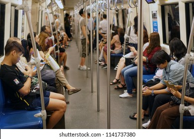 Bangkok Thailand - November 29, 2017: The passenger riding the MRT subway train, Many people use subway to save time, Transportation of the Bangkok Mass Rapid Transit