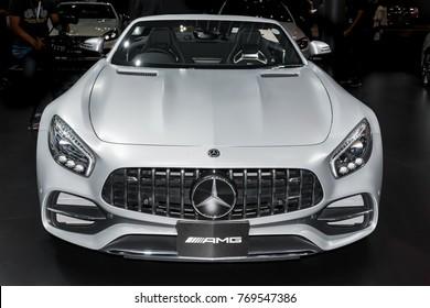 BANGKOK, THAILAND : November 29, 2017 -  Mercedes-AMG GT C Roadster in Motor Expo 2017 the big event car show at Nonthaburi, Bangkok, Thailand