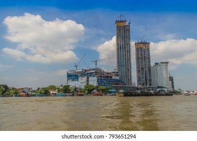 Bangkok, Thailand - November 29, 2017: Under construction of ICONSIAM project, a future mixed-use development on the banks of the Chao Phraya River in Bangkok, Thailand expected to open in 2018.