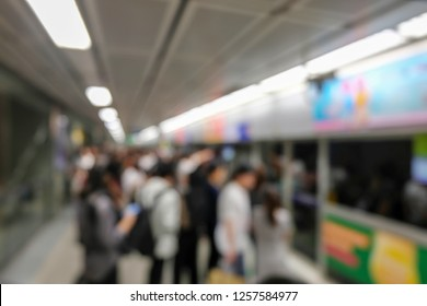 Bangkok, Thailand – November 29, 2018:Blurred people are waiting for the subway at subway station, MRT in Thailand