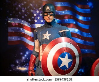 Bangkok, Thailand - November 29 2019: A wax statue of Captain America portrayed by Hollywood Actor Chris Evans at wax museum of Madame Tussauds.