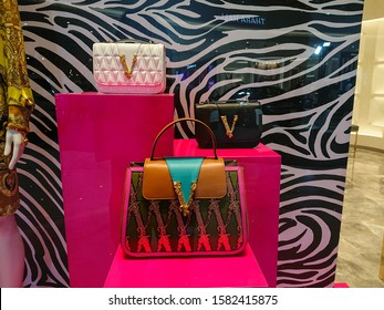 Bangkok, Thailand. November 30, 2019 - Versace luxury handbags new collection display in Versace store. Versace is an Italian fashion company and trade name founded by Gianni Versace in 1978.