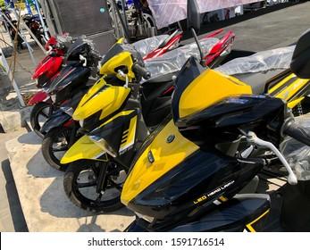 Bangkok, Thailand - November 30, 2019: View of new Yamaha GT 125 motorcycle sale in Bangkok, Thailand.