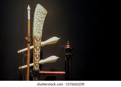 Bangkok, Thailand- November 30,2019: A beautiful Thai's style musical instrument decorated with carving ivory on the fiddle.