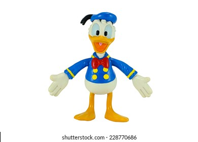 Bangkok, Thailand - November 4, 2014: Donald Duck from Mickey mouse and friends cartoon animation. This palstic toy figure from Disney animation store.