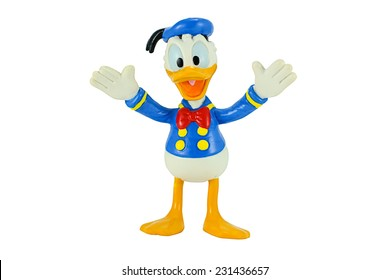Bangkok, Thailand - November 4, 2014: Donald Duck from Mickey mouse and friends cartoon animation. This plastic toy figure from Disnay animation store.