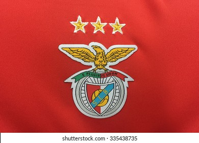 BANGKOK, THAILAND -NOVEMBER 4, 2015: the logo of Benfica on an official jersey on November 4, 2015 in Bangkok