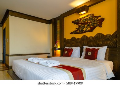 BANGKOK, THAILAND - NOVEMBER 4 2016: Interior of a bedroom decorated with northern Thai traditional  style in a business hotel