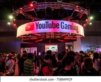 BANGKOK, THAILAND - November 4 2017 : People visit an exterior view of Youtube Gaming Space, at Thailand game show big festival 2017 in ROYAL PARAGON HALL, Bangkok Thailand. Editorial use only