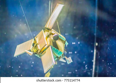 Bangkok, Thailand - November 4, 2017: Model of IKONOS, a commercial Earth observation satellite, and was the first to collect publicly available high-resolution at Bangkok Planetarium, Thailand.