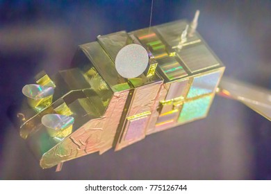 "Bangkok, Thailand - November 4, 2017: Model of SPOT-5 (French: Satellite Pour lâ??Observation de la Terre, ""Satellite for observation of Earth"") at Bangkok Planetarium, Thailand."