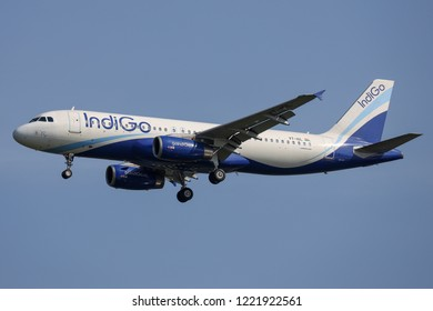 BANGKOK, THAILAND - NOVEMBER 4, 2018: IndiGo Airbus A320-200 reg. VT-IGL Landing at Suvarnabhumi Airport after flight from Bengaluru.