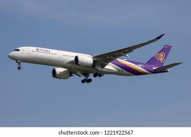 BANGKOK, THAILAND - NOVEMBER 4, 2018: Thai Airways Airbus A350-900 reg.HS-THE Landing at Suvarnabhumi Airport after flight from Osaka.