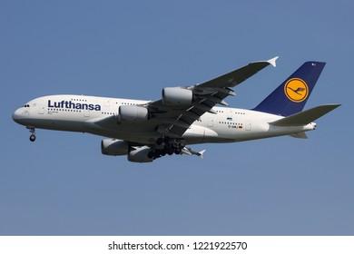 BANGKOK, THAILAND - NOVEMBER 4, 2018: Lufthansa Airbus A380-800 reg.D-AIMJ Landing at Suvarnabhumi Airport after flight from Frankfurt.