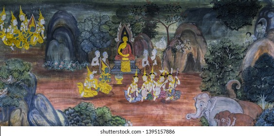 BANGKOK ,THAILAND - NOVEMBER 5, 2014 : Ancient Buddhist temple mural painting of the life of Buddha inside of Wat Pho in Bangkok, Thailand
