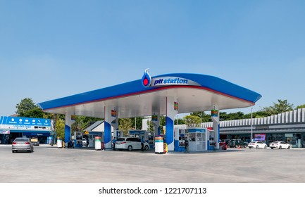 BANGKOK, THAILAND - November 5, 2018 : PTT Gas Station on Nov 5, 2018 in Thailand. PTT is a Thai state-owned SET-listed oil and gas company which owns extensive submarine gas pipelines in the Gulf of