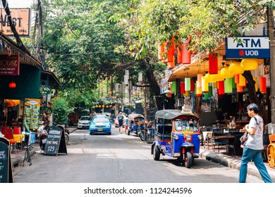 Bangkok, Thailand - November 6, 2017 : Khao San Road famous tourist shopping and food street