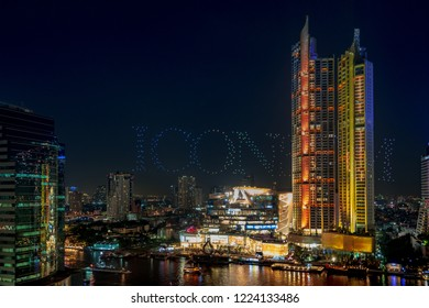 BANGKOK, THAILAND - NOVEMBER 7, 2018 : The first drone light show in Thailand use 1,500 drones in rehearsal Iconsiam's grand opening festivities in bangkok THAILAND