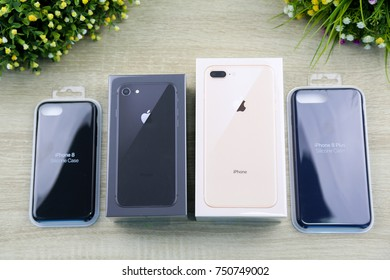 BANGKOK, THAILAND - NOVEMBER 7: The iPhone 8&8 Plus in black and gold color with silicon cases on November 7, 2017 in Bangkok, Thailand