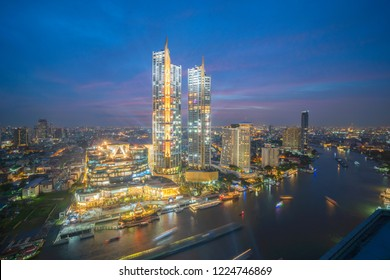 """BANGKOK, THAILAND. November 8, 2018 : An under construction """"Iconsiam"""" Bangkok, newest shopping mall which will have the grand opening in The November in Thailand."""