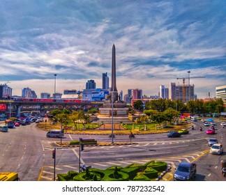 Bangkok, Thailand November 9, 2017: View of the Victory Monument the big military monument in Bangkok.